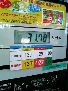 11月頭のガソリンセルフ価格